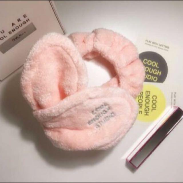 韓國Cool Enough Studio可愛兔耳洗臉髮帶 粉紅色款