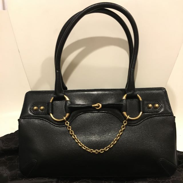 f69e24499 GUCCI Horsebit Satchel Black Bag, Luxury, Bags & Wallets on Carousell
