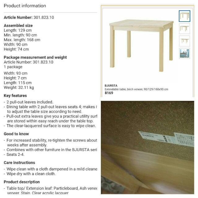 Reserved Ikea Bjursta Extandable Dining Table With 4