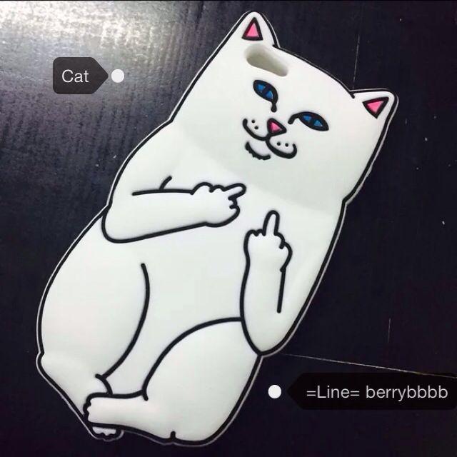 貓奴推薦✨iphone 6/6s 5/5s 白貓 中指 貓咪 矽膠 蘋果 手機殻 軟殻