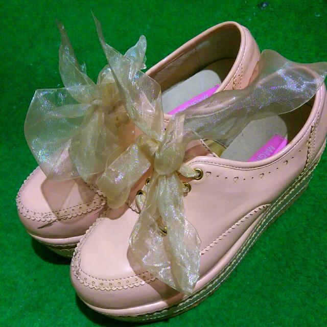 日系Lizlisa(非正)粉色緞帶厚底鞋