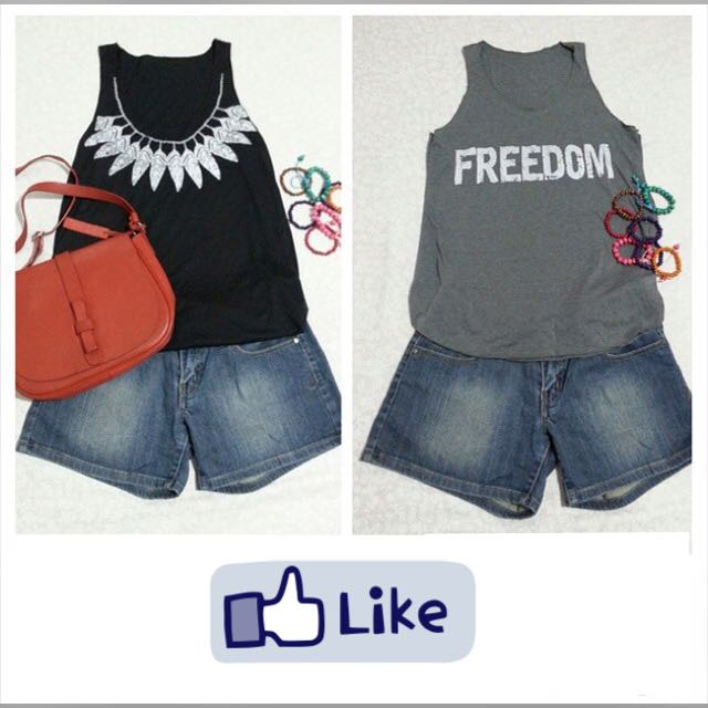 Loose Tank Top Black And Grey Cotton