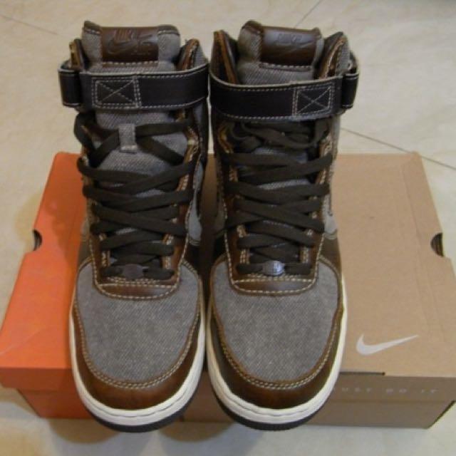 NIKE AIR FORCE 1 HIGH PREMIUM 絨布皮革 圓牌 二手經典美鞋.