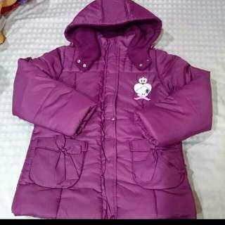 140公分女大童★Snoopy酒紫色緞面內鋪棉厚外套