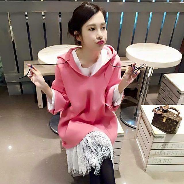 00正韓-類似款桃粉帽T-搭配蕾絲裙