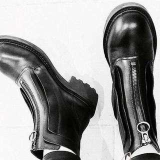 歐美前拉鏈短靴