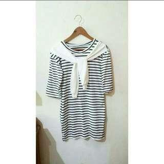 B &W Striped Dress Instock