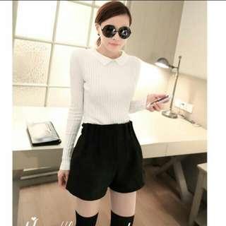 Velvet Paperbag Shorts In Black