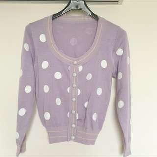 復古紫色點點外套