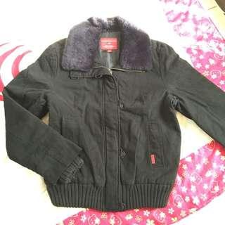 ✨polo黑色毛領可拆超厚鋪棉夾克大衣外套✔️七成新✔️L號