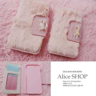 糖果色可愛毛毛 皮夾式 iPhone 6s iPhone6S PIUS 手機殼 名片夾包