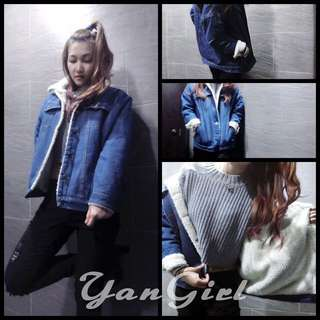 【Yangirl】韓版百搭內加絨牛仔外套