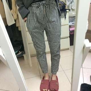 黑白細格休閒褲