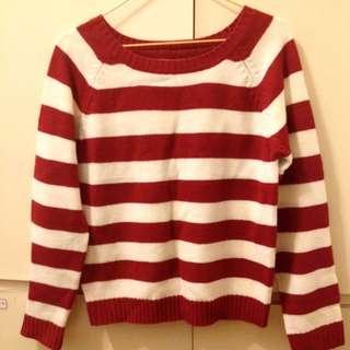 聖誕節 紅白條紋針織毛衣