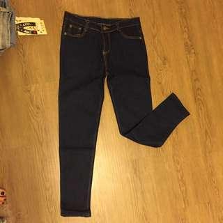 全新 顯瘦 牛仔褲 復古 M