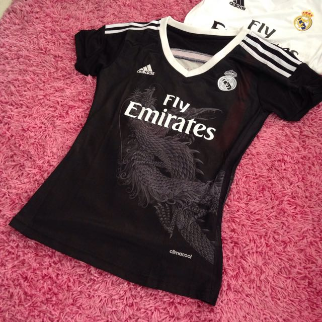 buy online 61cab c57ab 1pc only Size S Ladies Real Madrid Jersey Away Black Dragon ...