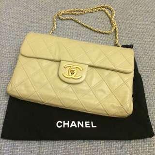 真品Chanel 香奈兒駝色牛皮金鍊雙鍊側肩背包25cm