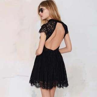 [PO H233] Open Back High Collar Lace Overlay Little Black Dress