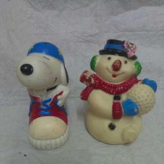 早期 復古 老玩具 軟膠玩具 史努比 冬季聖誕雪人 啾啾公仔
