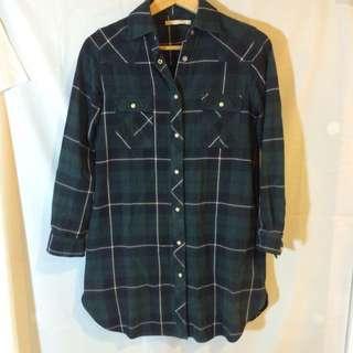 Lowrys Farm 厚 長版 綠格 襯衫
