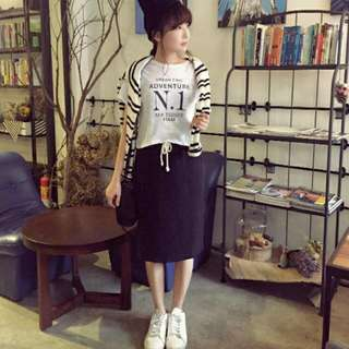 保留 PAZZO棉質鉛筆裙(黑)