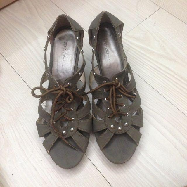羅馬交叉踝靴高根鞋