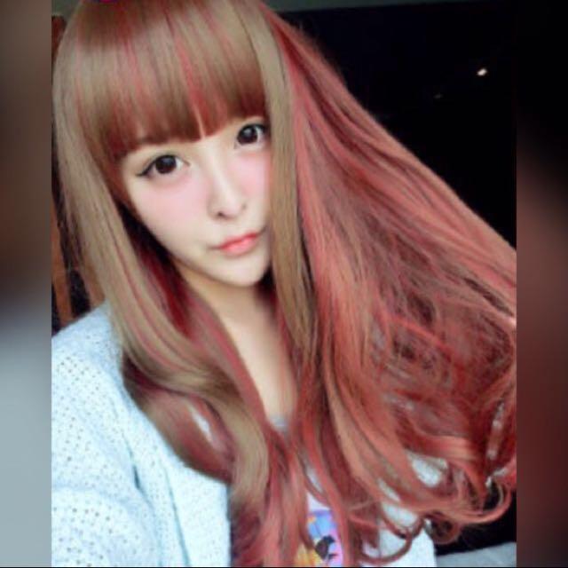 粉紅可可挑染假髮