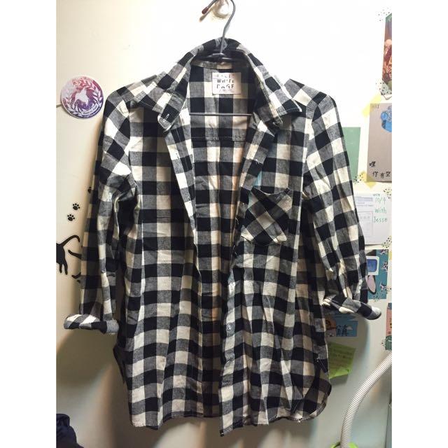 黑白格 長版襯衫