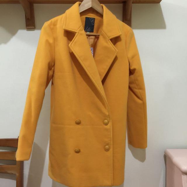 西裝外套 長版 修身 全新 黃 復古大衣