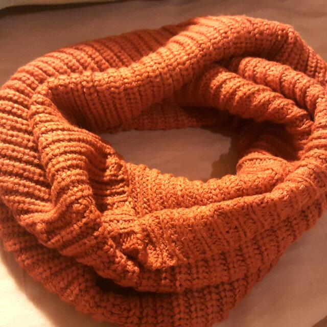 橘紅色 粗針織 圍脖 圍巾