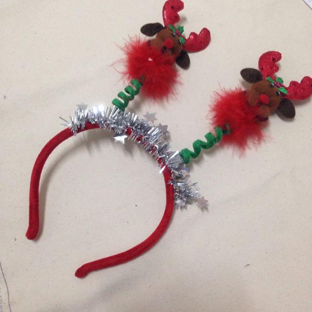 聖誕節 髮飾 麋鹿 叮叮噹 紅色 喜氣洋洋