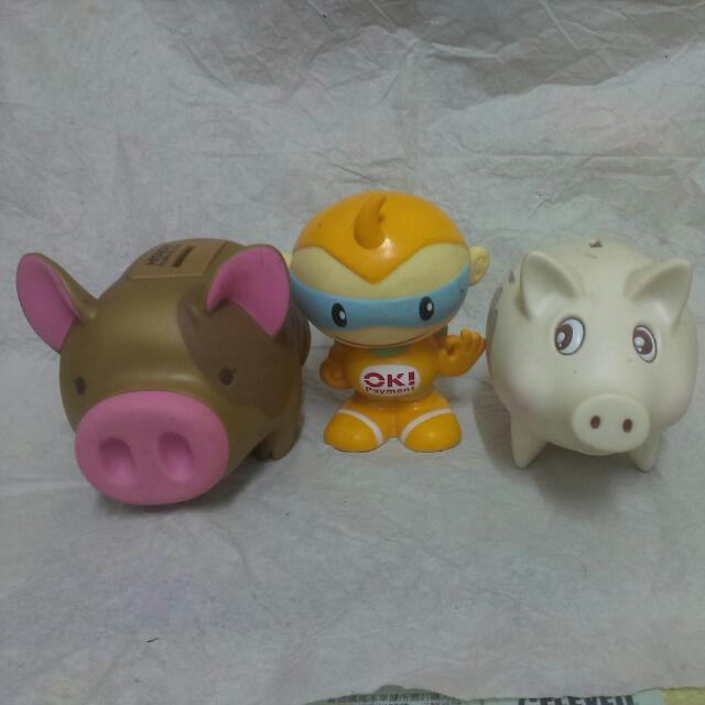 老物 老玩具 復古 豬公 超人 存錢筒 儲金箱 存錢桶 撲滿
