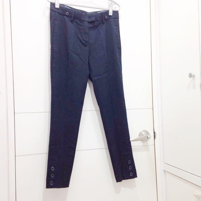 👗♻️ 深藍色直條紋西裝褲-九分褲 SUIT(SISLEY)