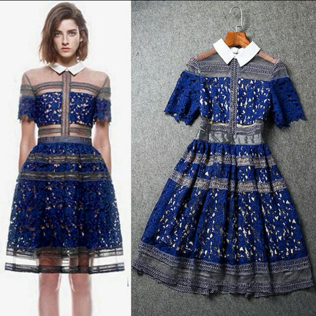 c2f5a9040df2c Self-Portrait Inspired] LILIANA Blue Lace Dress, Women's Fashion on ...