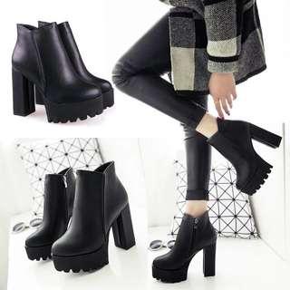 秋冬女靴/馬丁靴/內絨毛高跟靴