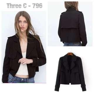Short Trench Coat (BLACK)