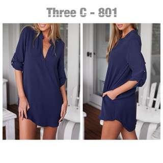 Pocket Shirt Dress (Blue)