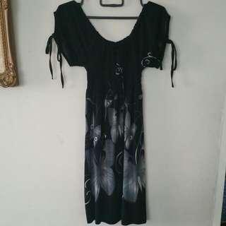 👗 Black Butterfly Dress / Long Blouse