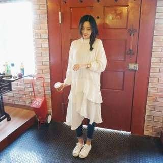 正韓oznara女神氣質蛋糕荷葉邊不規則打底長版連身裙(2色)【NO520129】