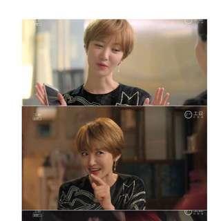 預訂款⚓️韓國代購韓劇她很美麗高俊熙珍珠樹葉不對稱耳針耳環飾品-共兩色