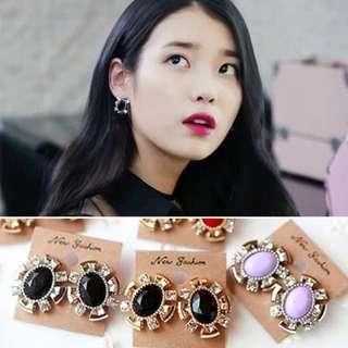 新品預購⚓️韓劇製作人IU同款耳環 正韓貨耳飾水晶淑女款耳環共六款顏色