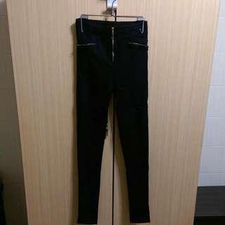 全新 黑色拉鍊彈性內搭褲