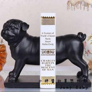 現代簡約高檔狗狗家居裝飾品書房巴哥犬書立 書靠 擺件 環保樹脂20.5*12.5 + 15.5*10.5