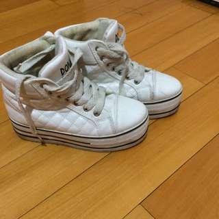 高筒白增高厚底鞋