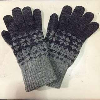 暖呼呼❄️雪花圖案毛線手套