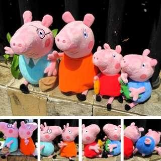 Peppa pig 粉紅豬爸媽 30cm + 佩佩+喬治 20cm 佩佩豬 粉紅豬 豬小妹 小豬佩佩 ㄧ家人 四口 現貨