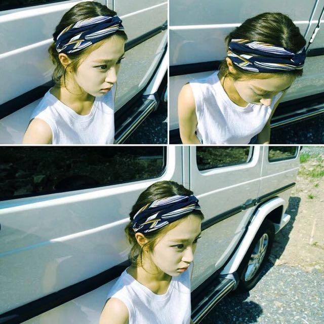預訂款⚓️韓國代購寬口海灘夏威夷彩色抽象條紋交叉髮帶髮飾頭飾
