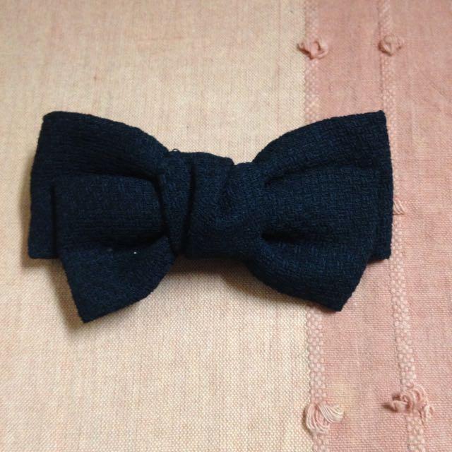 黑色氣質大蝴蝶結夾式髮飾