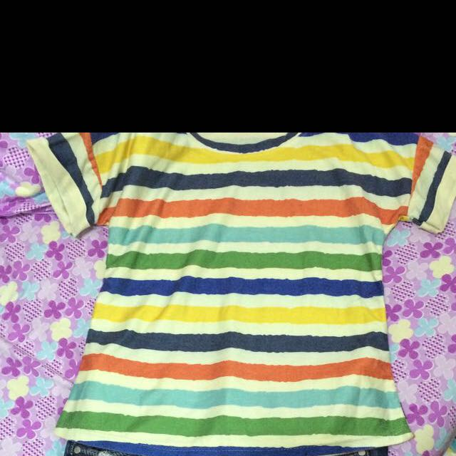 超可愛彩色條紋短上衣