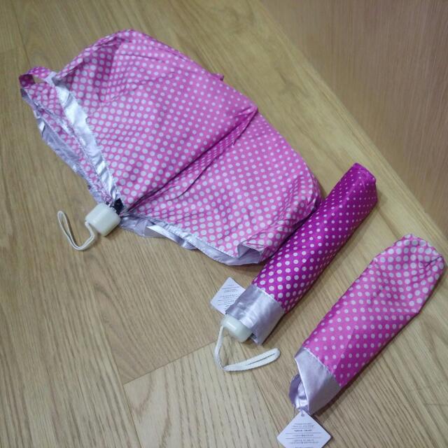 免運🔎白點點粉色/紫色手動摺疊雨傘